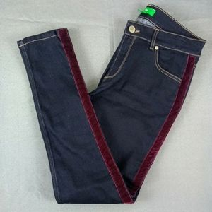 DIP jeans with wine colored accent stripe size 10